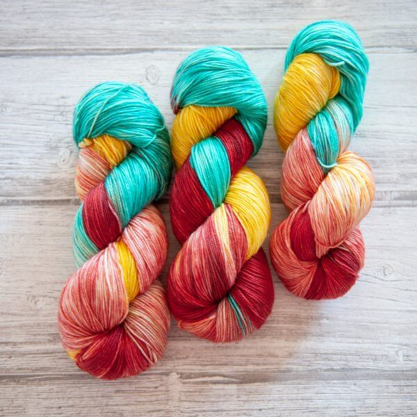 3 skeins of yarn in the colorway Roussillon