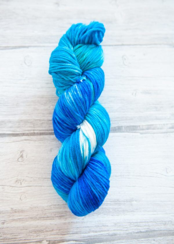 One skein of yarn in the colorway Cote d'Azur