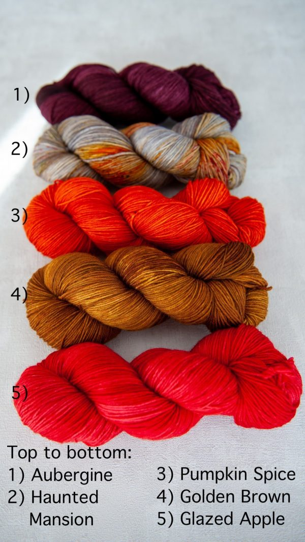 All five colors of main skeins for the sock sets next to each other