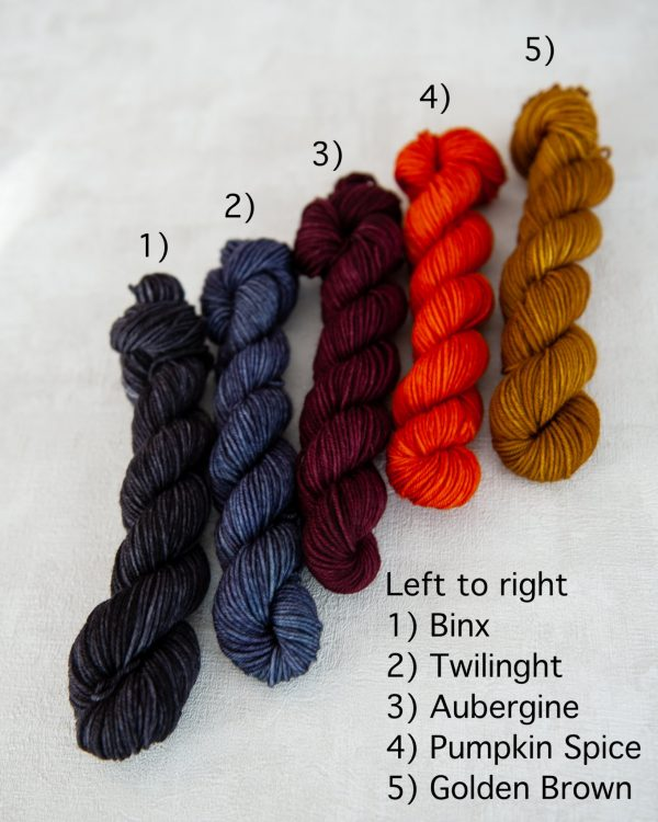 All five colors of mini skeins for the sock sets next to each other