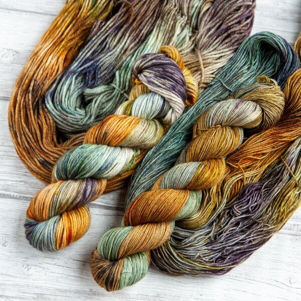 two skeins of yarn in the colorway 'Barrowland Ballroom'