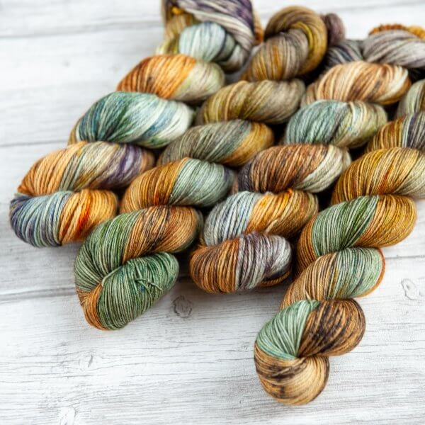 four skeins of yarn in the colorway 'Barrowland Ballroom'
