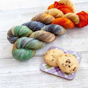 two skeins of yarn in the colorway 'Edinburgh'