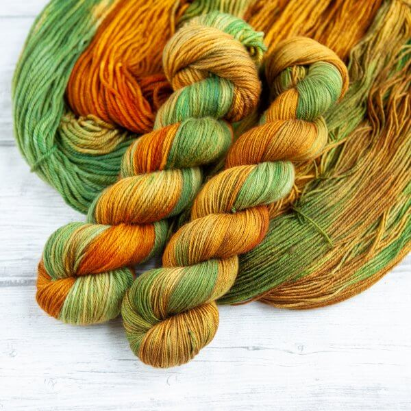 two skeins of yarn in the colorway 'Highlands'