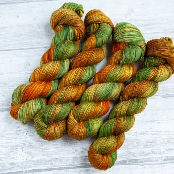 four skeins of yarn in the colorway 'Highlands'