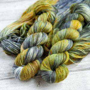 two skeins of yarn in the colorway 'Kilchurn Castle'