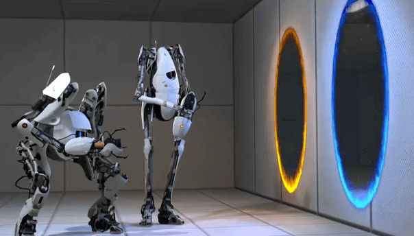 still from the video game 'Portal 2'